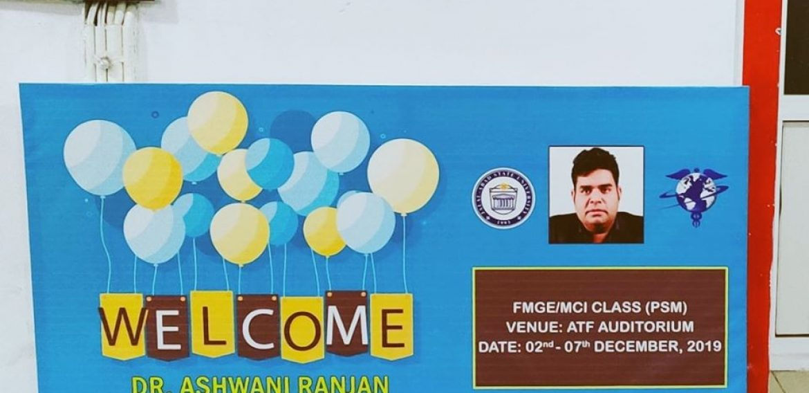 Grandly welcome Dr.Ashwani Ranjan for taking MCI coaching classes of PSM for our students.