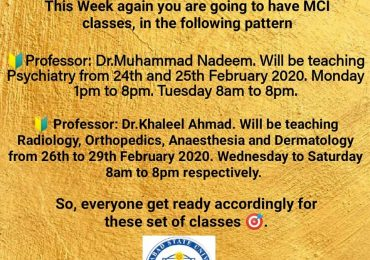 MCI class for 5th & 6th year subjects Psychiatry, Radiology, Orthopaedics, Anaesthesia and Dermatology will be taken by Dr. Muhammad Nadeem Zafar and Dr. Khaleel Ahmad
