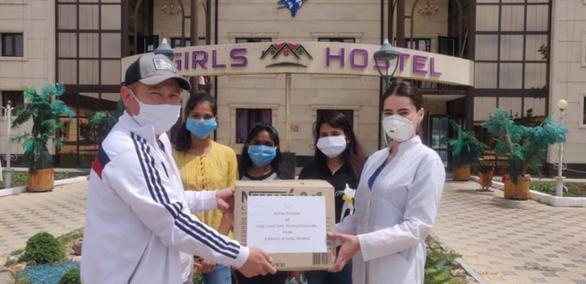 Indian embassy, Bishkek, Kyrgyzstan has sent a box containing medicine,mask etc for JASU Students