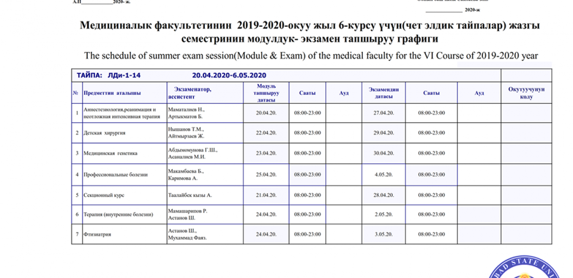 Modules and Exams of JASU in this Academic Year 2019/2020 for the final year course (27th April 2020 till 4th May 2020). Best wishes to all of you students