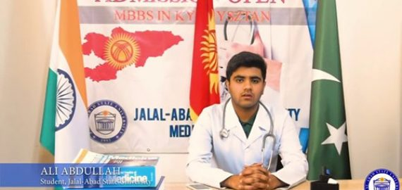 Our first year student Mr. Ali Abdullah from Pakistan, briefing about Jalal-Abad State University's Education, Accommodation and Sports.