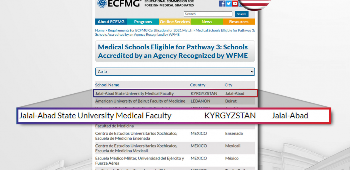 Administration of Jalal-Abad State University, Medical faculty proud to share that JASU was Accredited by an agency recognized by ECFMG.